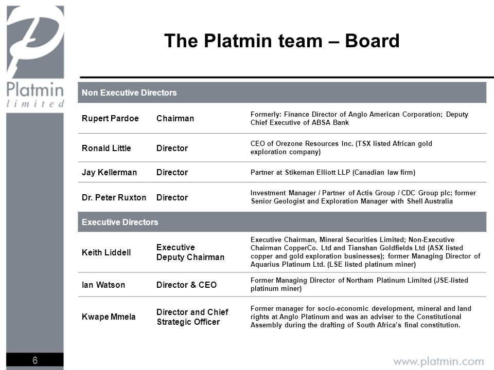 6 The Platmin team – Board Non Executive Directors Rupert PardoeChairman Formerly: Finance Director of Anglo American Corporation; Deputy Chief Executive of ABSA Bank Ronald LittleDirector CEO of Orezone Resources Inc.
