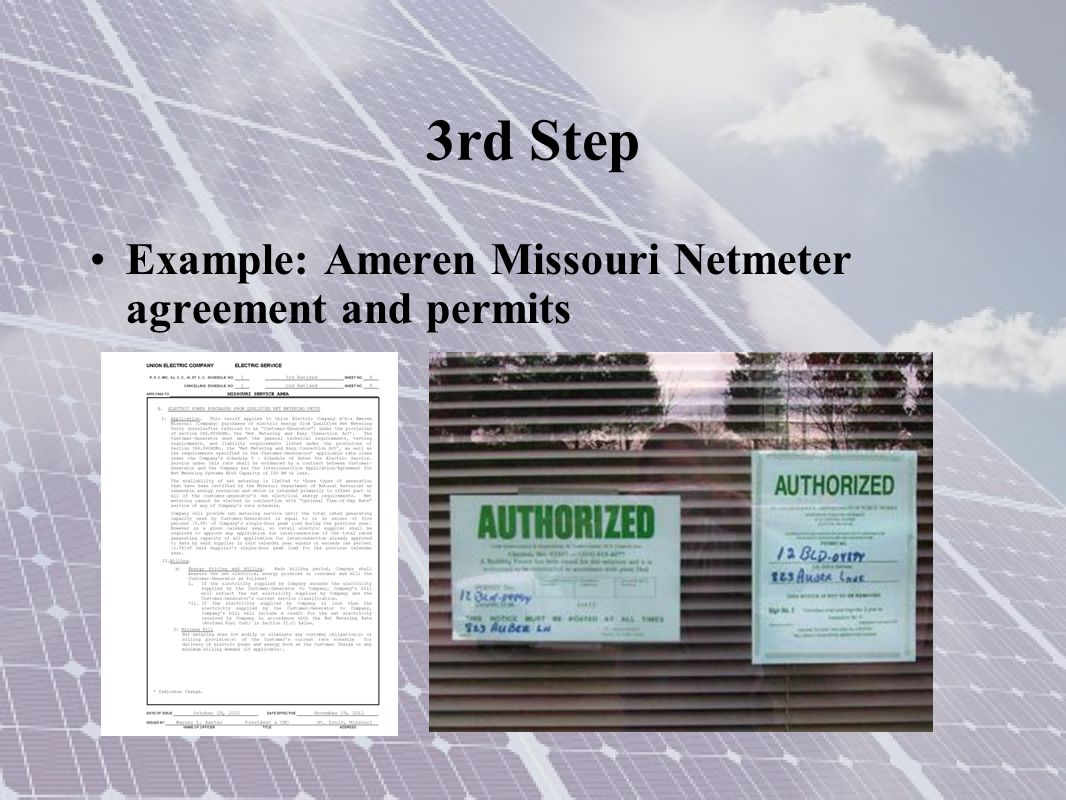 3rd Step Example: Ameren Missouri Netmeter agreement and permits