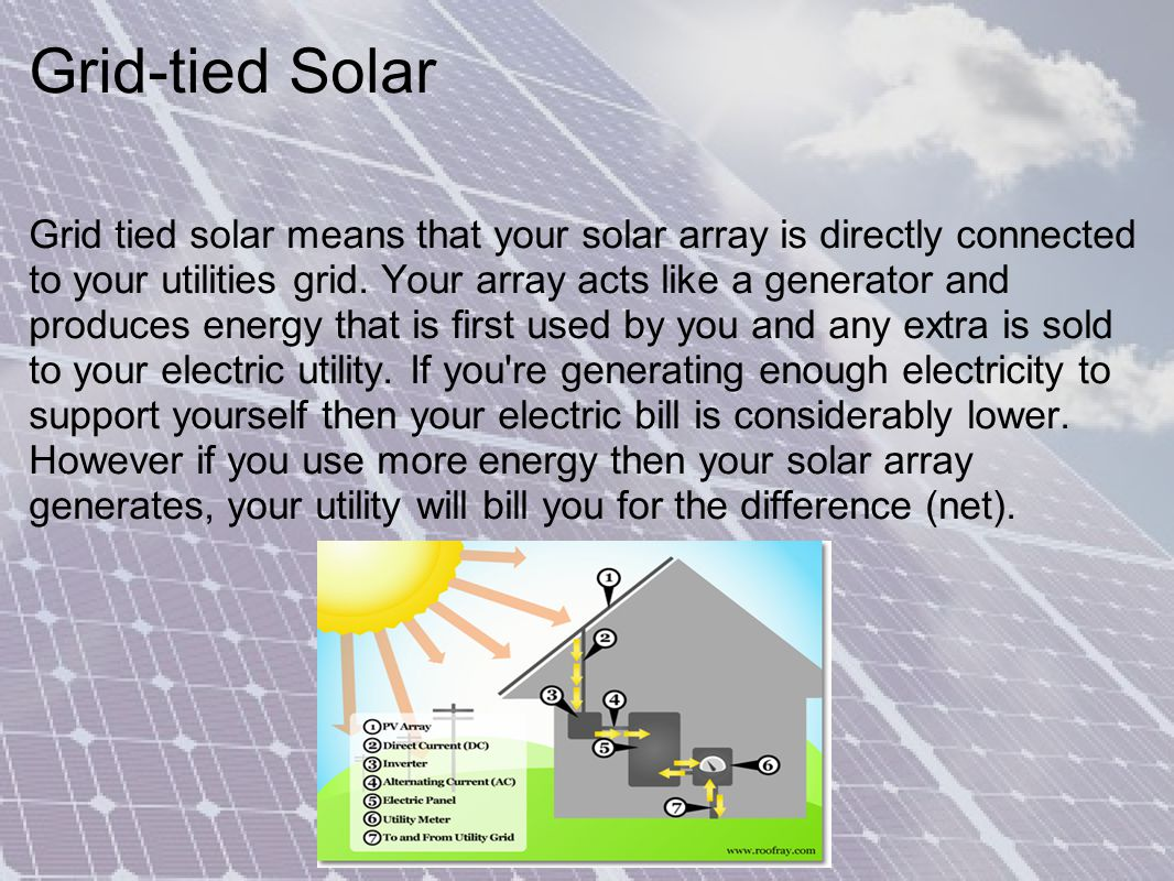 Grid-tied Solar Grid tied solar means that your solar array is directly connected to your utilities grid.