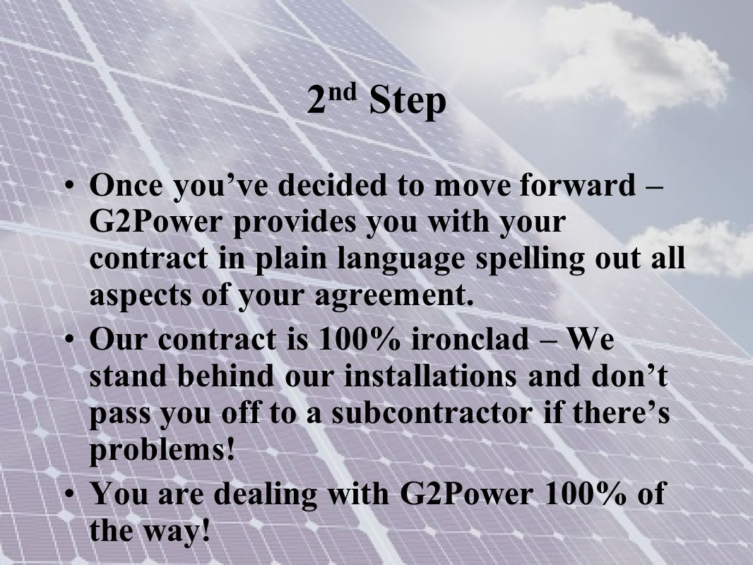 2 nd Step G2Power uses only top of the line components.