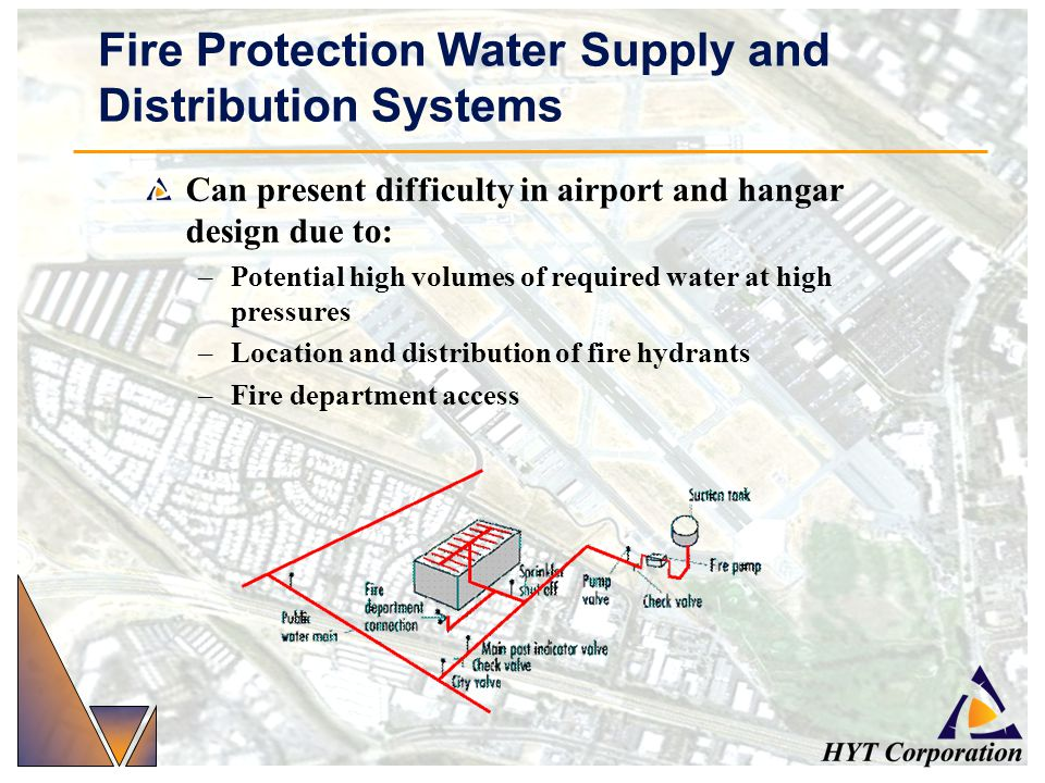 Fire Protection Water Supply and Distribution Systems Can present difficulty in airport and hangar design due to: –Potential high volumes of required water at high pressures –Location and distribution of fire hydrants –Fire department access