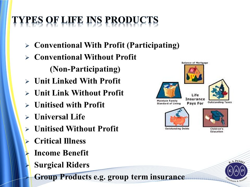  Conventional With Profit (Participating)  Conventional Without Profit (Non-Participating)  Unit Linked With Profit  Unit Link Without Profit  Unitised with Profit  Universal Life  Unitised Without Profit  Critical Illness  Income Benefit  Surgical Riders  Group Products e.g.