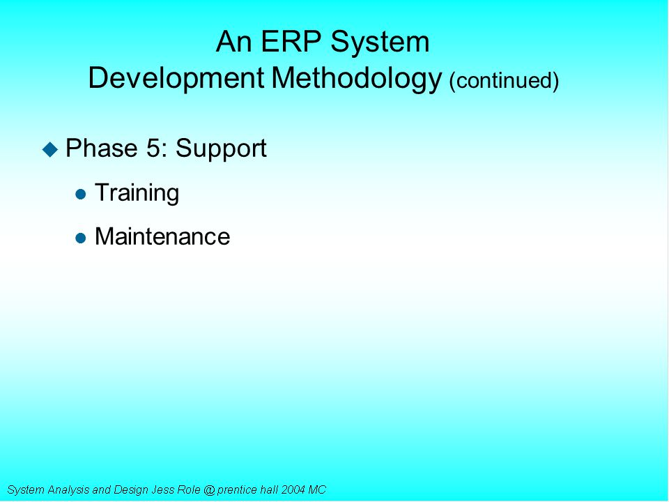 An ERP System Development Methodology (continued) u Phase 5: Support l Training l Maintenance