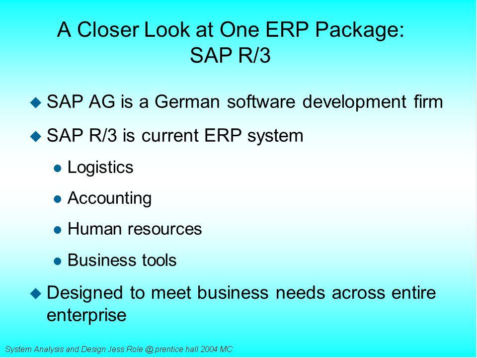 A Closer Look at One ERP Package: SAP R/3 u SAP AG is a German software development firm u SAP R/3 is current ERP system l Logistics l Accounting l Hu