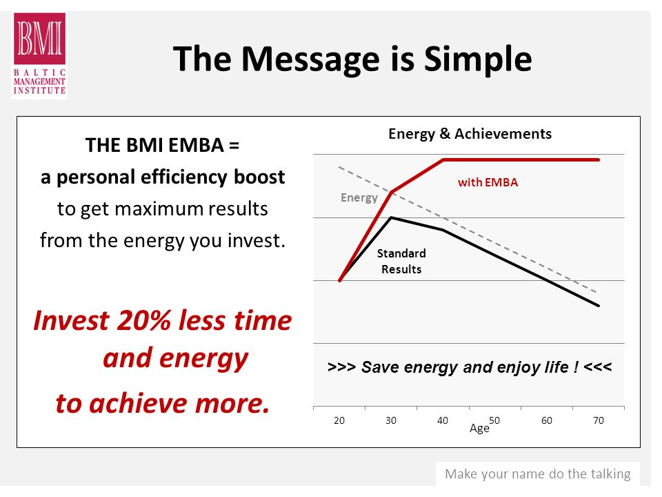 Make your name do the talking THE BMI EMBA = a personal efficiency boost to get maximum results from the energy you invest.
