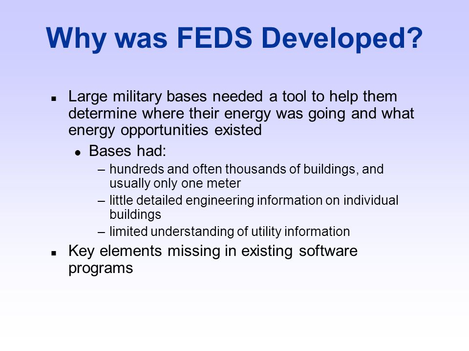 Who Developed FEDS.