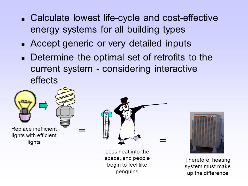 n Assess and analyze energy efficiency in multiple buildings and at multiple sites n Identify retrofits, determine payback, and enable users to prioritize options n Provide a consistent basis for decision-making on retrofit options 1/03 1/04 1/05 What Can FEDS Do