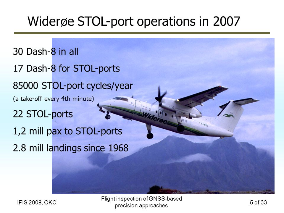 Flight inspection of GNSS-based precision approaches 5 of 33IFIS 2008, OKC Widerøe STOL-port operations in 2007 30 Dash-8 in all 17 Dash-8 for STOL-po