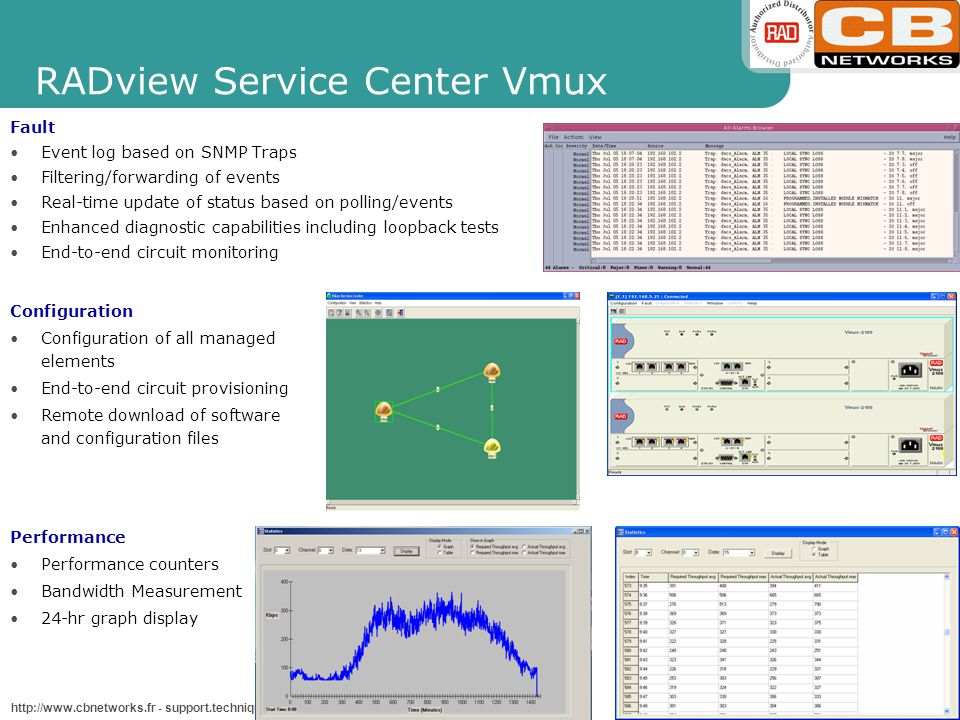 VMUX_TS2009.ppt - Slide 25 http://www.cbnetworks.fr - support.technique@cbnetworks.fr RADview Service Center Vmux Configuration Configuration of all managed elements End-to-end circuit provisioning Remote download of software and configuration files Performance Performance counters Bandwidth Measurement 24-hr graph display Fault Event log based on SNMP Traps Filtering/forwarding of events Real-time update of status based on polling/events Enhanced diagnostic capabilities including loopback tests End-to-end circuit monitoring