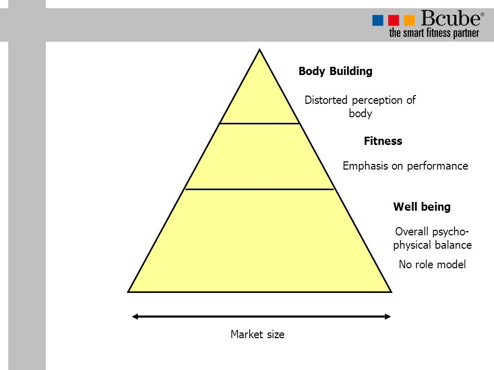 Well being Emphasis on performance Fitness Distorted perception of body Body Building Overall psycho- physical balance No role model Market size