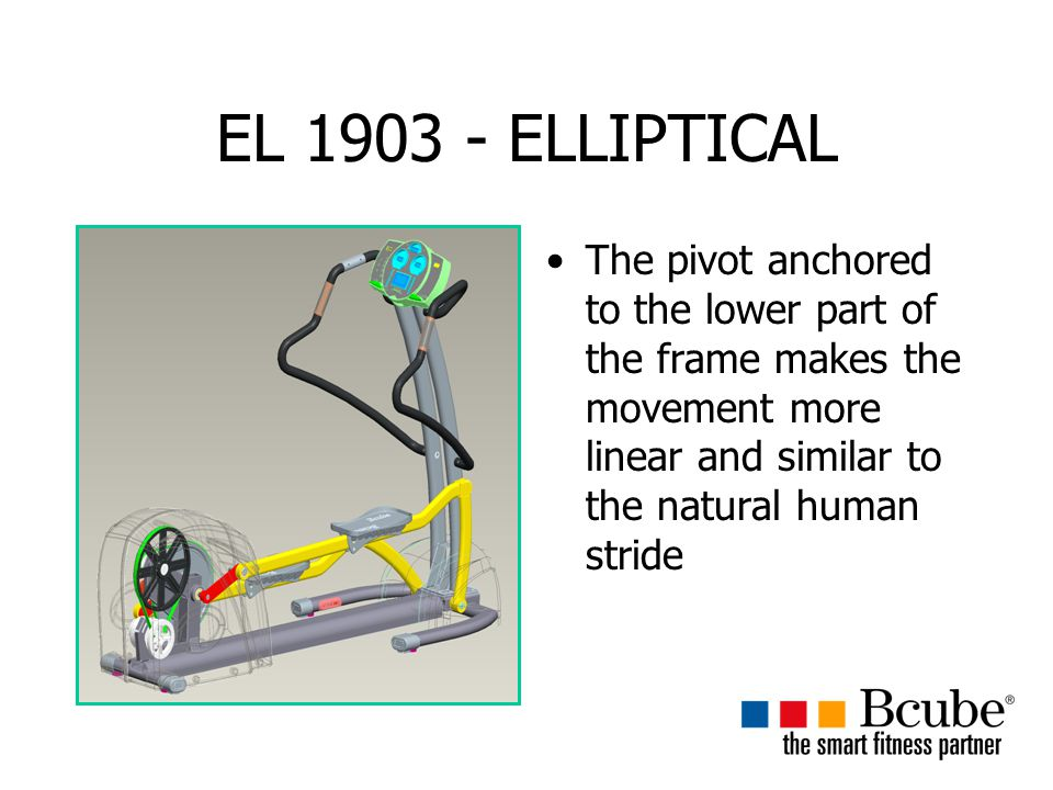 EL 1903 - ELLIPTICAL The pivot anchored to the lower part of the frame makes the movement more linear and similar to the natural human stride