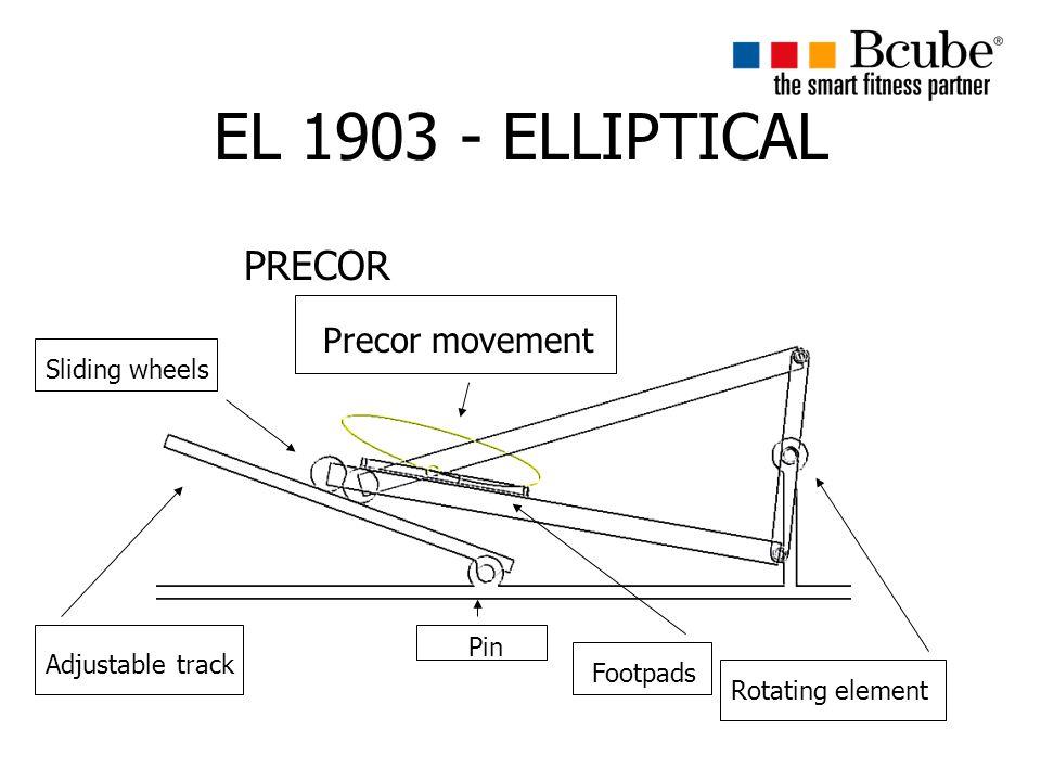 EL 1903 - ELLIPTICAL PRECOR Pin Adjustable track Sliding wheels Footpads Rotating element Precor movement