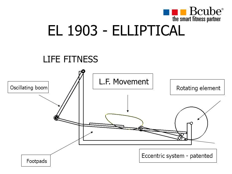 EL 1903 - ELLIPTICAL LIFE FITNESS Oscillating boom Footpads Eccentric system - patented Rotating element L.F.