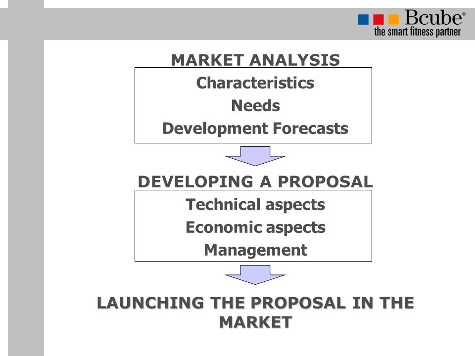 MARKET ANALYSIS Characteristics Needs Development Forecasts DEVELOPING A PROPOSAL Technical aspects Economic aspects Management LAUNCHING THE PROPOSAL IN THE MARKET