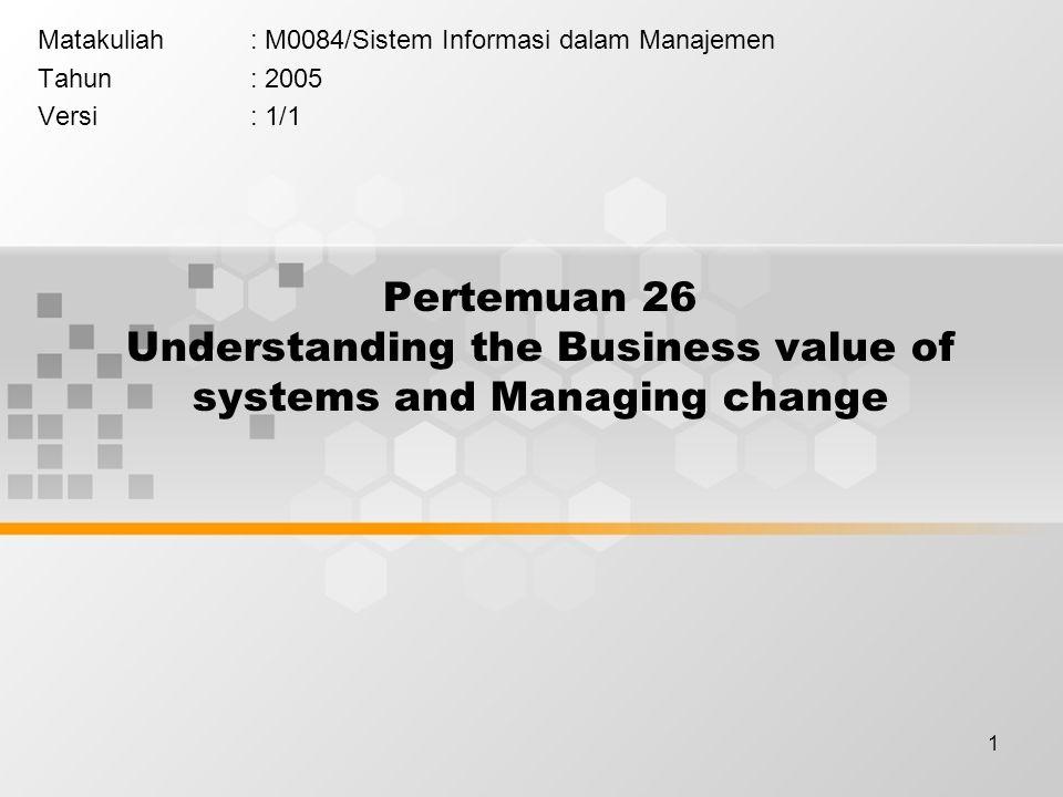 1 Pertemuan 26 Understanding the Business value of systems and Managing change Matakuliah: M0084/Sistem Informasi dalam Manajemen Tahun: 2005 Versi: 1/1