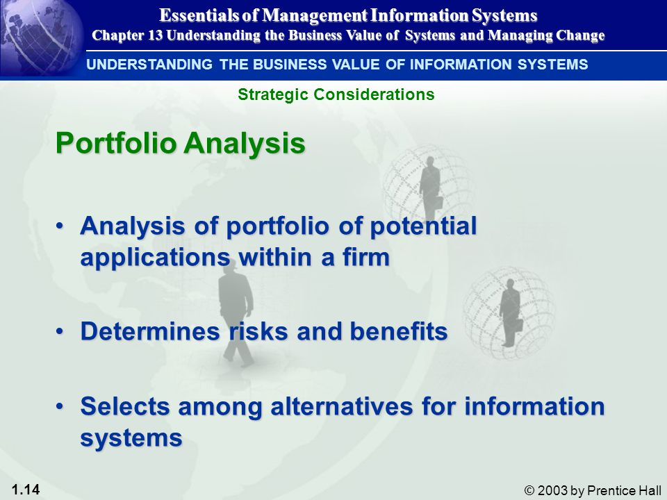 1.14 © 2003 by Prentice Hall Portfolio Analysis Analysis of portfolio of potential applications within a firmAnalysis of portfolio of potential applications within a firm Determines risks and benefitsDetermines risks and benefits Selects among alternatives for information systemsSelects among alternatives for information systems UNDERSTANDING THE BUSINESS VALUE OF INFORMATION SYSTEMS Essentials of Management Information Systems Chapter 13 Understanding the Business Value of Systems and Managing Change Strategic Considerations