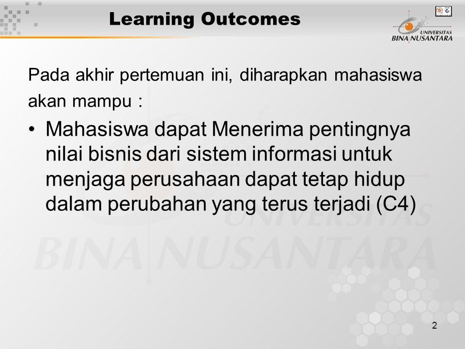2 Learning Outcomes Pada akhir pertemuan ini, diharapkan mahasiswa akan mampu : Mahasiswa dapat Menerima pentingnya nilai bisnis dari sistem informasi untuk menjaga perusahaan dapat tetap hidup dalam perubahan yang terus terjadi (C4)