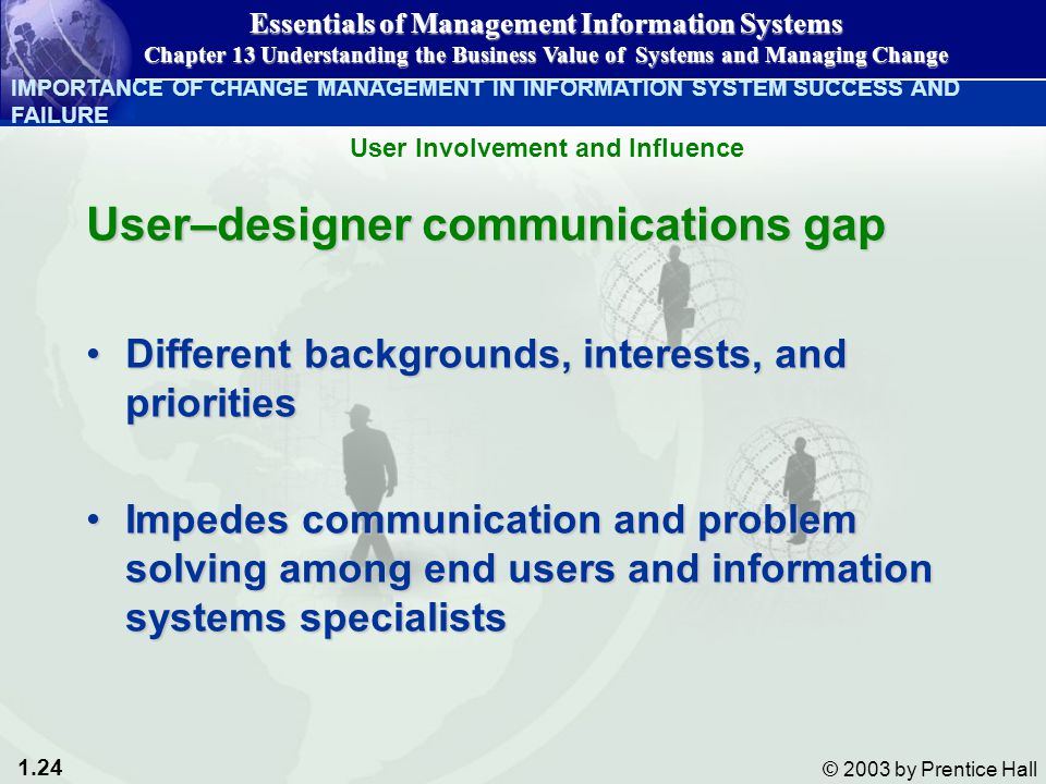 1.24 © 2003 by Prentice Hall User–designer communications gap Different backgrounds, interests, and prioritiesDifferent backgrounds, interests, and priorities Impedes communication and problem solving among end users and information systems specialistsImpedes communication and problem solving among end users and information systems specialists IMPORTANCE OF CHANGE MANAGEMENT IN INFORMATION SYSTEM SUCCESS AND FAILURE Essentials of Management Information Systems Chapter 13 Understanding the Business Value of Systems and Managing Change User Involvement and Influence