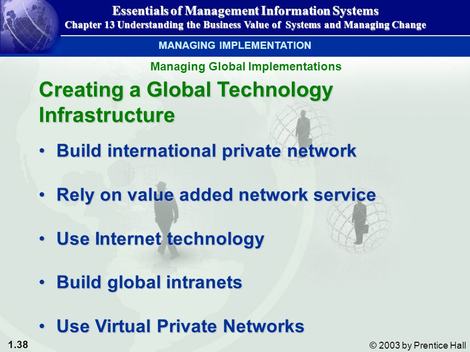 1.38 © 2003 by Prentice Hall Creating a Global Technology Infrastructure Build international private networkBuild international private network Rely on value added network serviceRely on value added network service Use Internet technologyUse Internet technology Build global intranetsBuild global intranets Use Virtual Private NetworksUse Virtual Private Networks Essentials of Management Information Systems Chapter 13 Understanding the Business Value of Systems and Managing Change Managing Global Implementations MANAGING IMPLEMENTATION