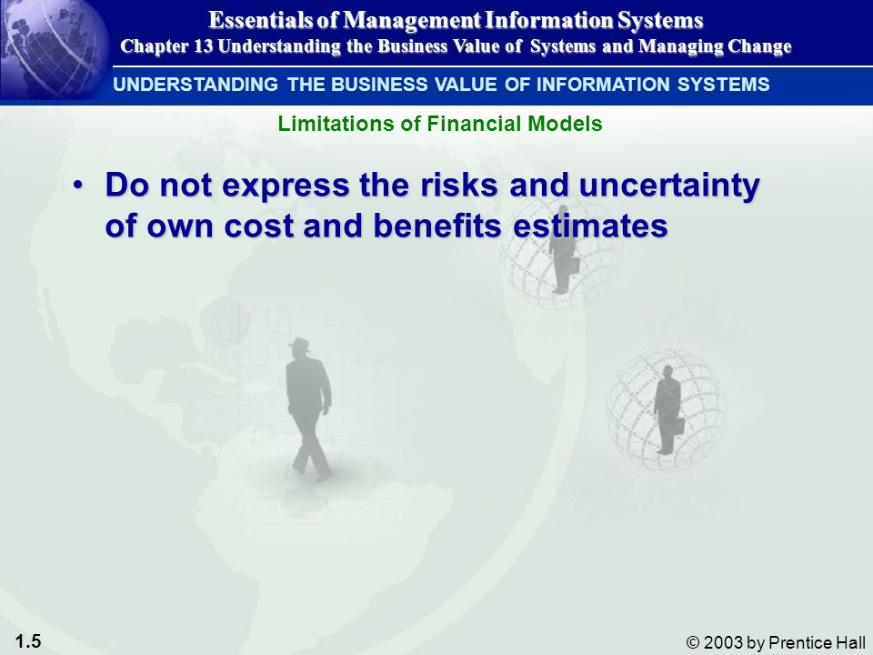 1.5 © 2003 by Prentice Hall Do not express the risks and uncertainty of own cost and benefits estimatesDo not express the risks and uncertainty of own cost and benefits estimates UNDERSTANDING THE BUSINESS VALUE OF INFORMATION SYSTEMS Essentials of Management Information Systems Chapter 13 Understanding the Business Value of Systems and Managing Change Limitations of Financial Models
