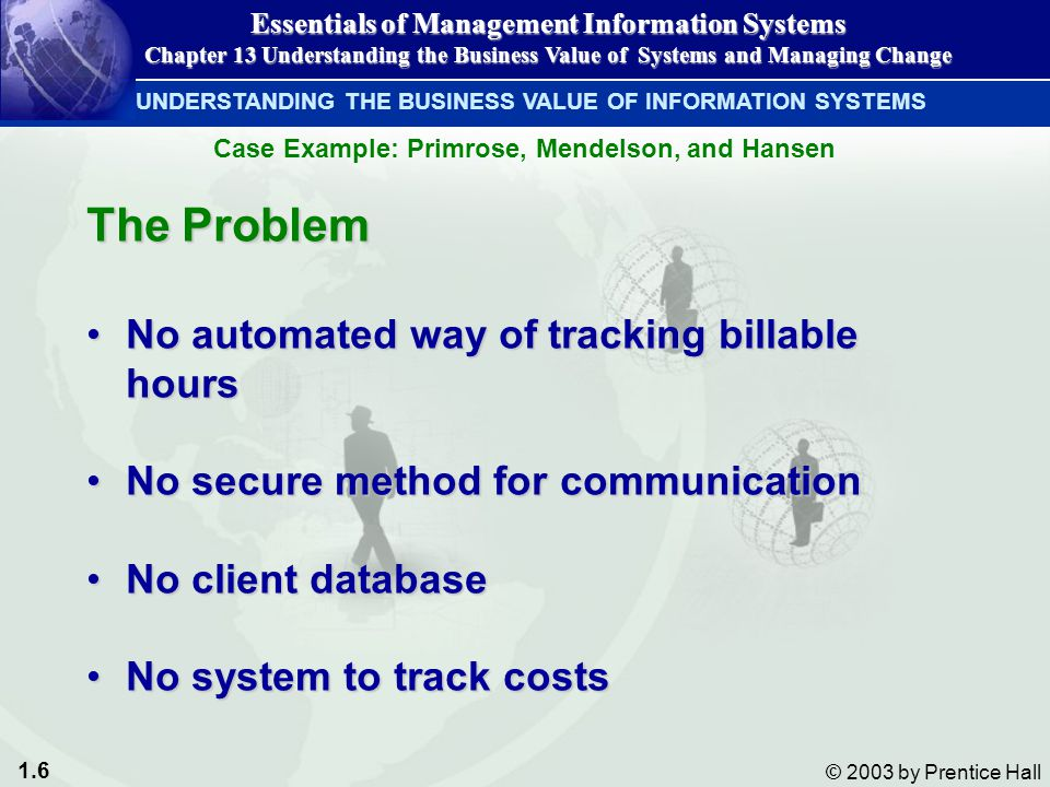 1.27 © 2003 by Prentice Hall Improper management leads to: Cost overrunsCost overruns Unexpected time slippageUnexpected time slippage Technical shortfallsTechnical shortfalls Failure to obtain anticipated benefitsFailure to obtain anticipated benefits IMPORTANCE OF CHANGE MANAGEMENT IN INFORMATION SYSTEM SUCCESS AND FAILURE Essentials of Management Information Systems Chapter 13 Understanding the Business Value of Systems and Managing Change Management of the Implementation Process