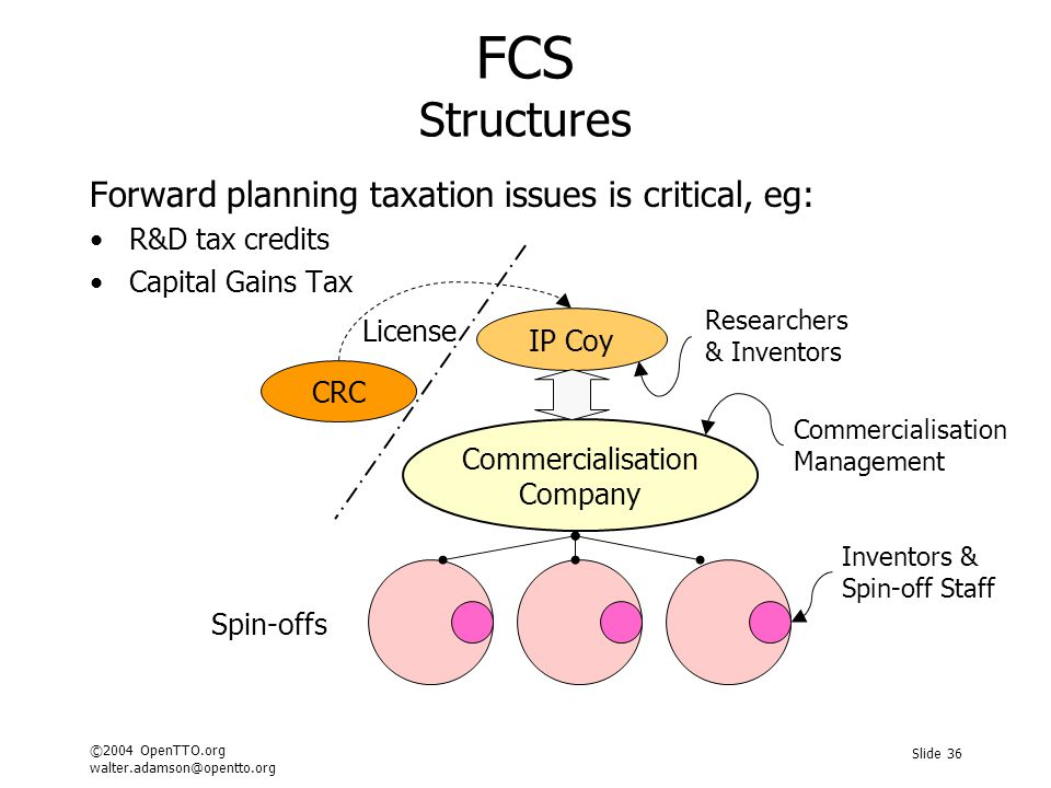 ©2004 OpenTTO.org walter.adamson@opentto.org Slide 36 FCS Structures Forward planning taxation issues is critical, eg: R&D tax credits Capital Gains T