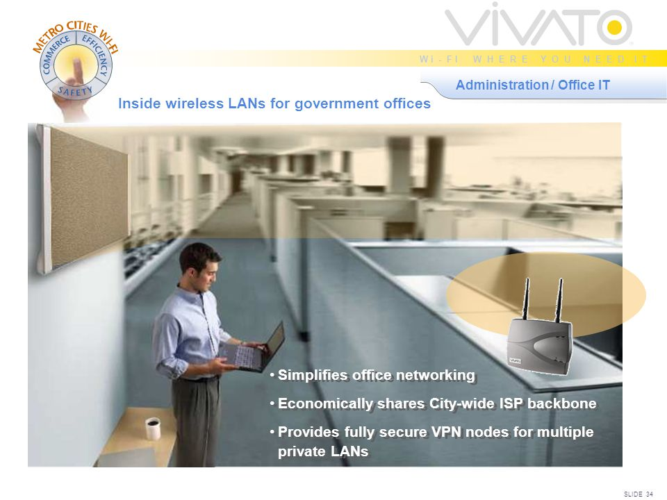 SLIDE 34 W i - F I W H E R E Y O U N E E D I T Administration / Office IT Inside wireless LANs for government offices Simplifies office networking Economically shares City-wide ISP backbone Provides fully secure VPN nodes for multiple private LANs Simplifies office networking Economically shares City-wide ISP backbone Provides fully secure VPN nodes for multiple private LANs