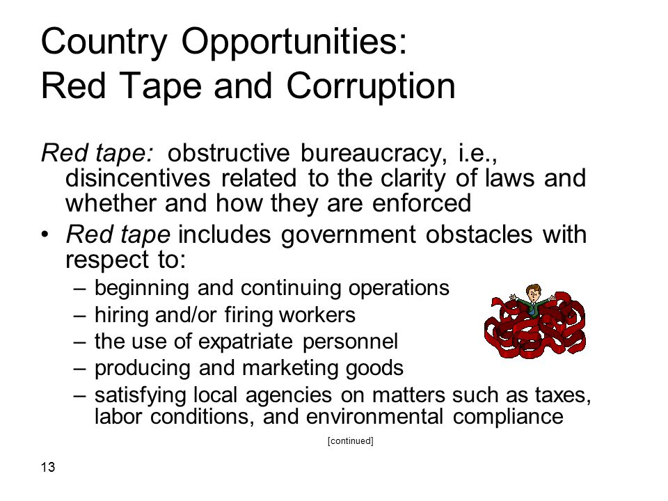 13 Country Opportunities: Red Tape and Corruption Red tape: obstructive bureaucracy, i.e., disincentives related to the clarity of laws and whether an