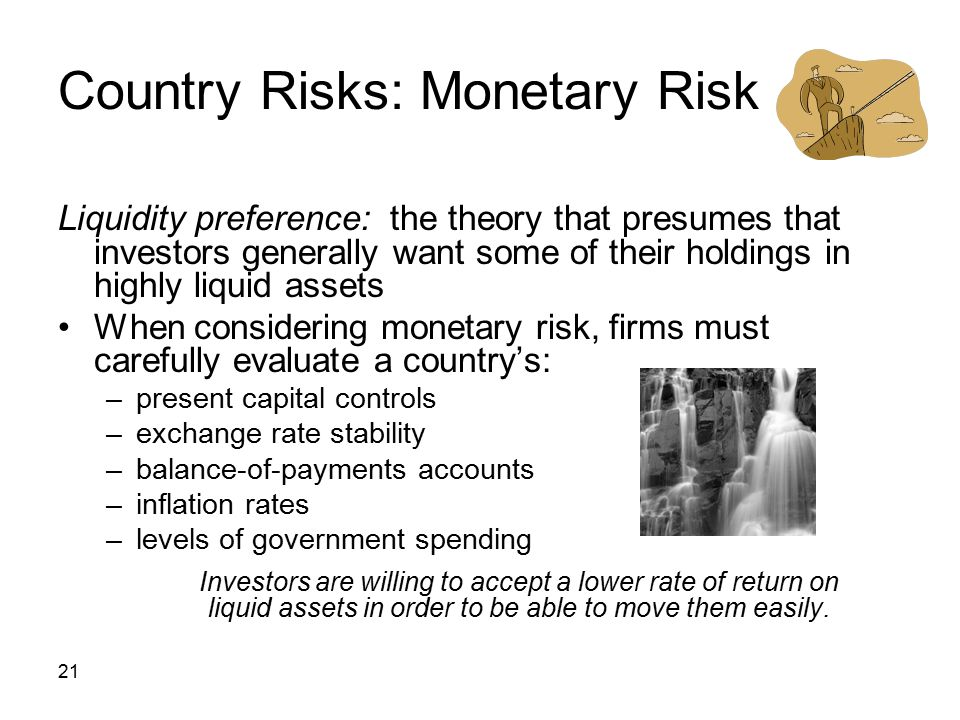 21 Country Risks: Monetary Risk Liquidity preference: the theory that presumes that investors generally want some of their holdings in highly liquid a