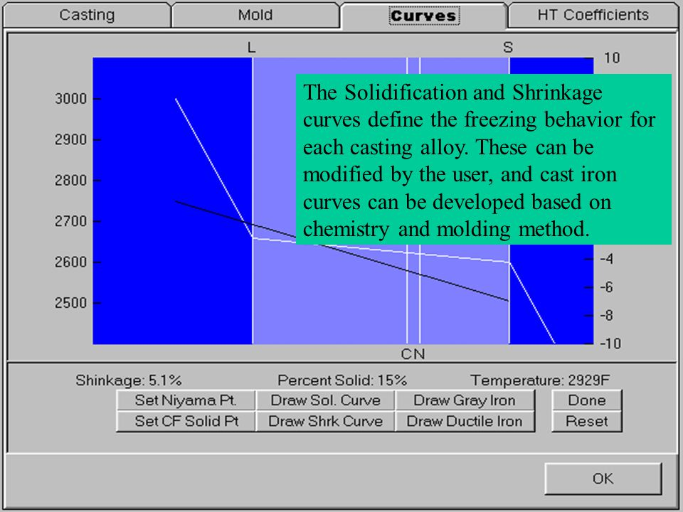 The Solidification and Shrinkage curves define the freezing behavior for each casting alloy. These can be modified by the user, and cast iron curves c