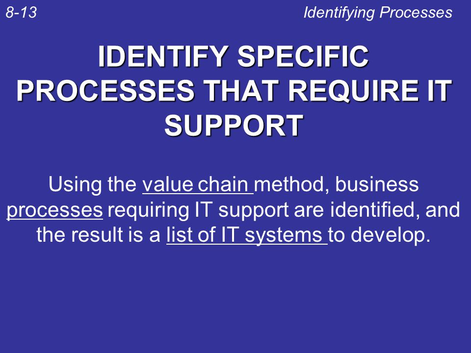 IDENTIFY SPECIFIC PROCESSES THAT REQUIRE IT SUPPORT Identifying Processes8-13 Using the value chain method, business processes requiring IT support ar