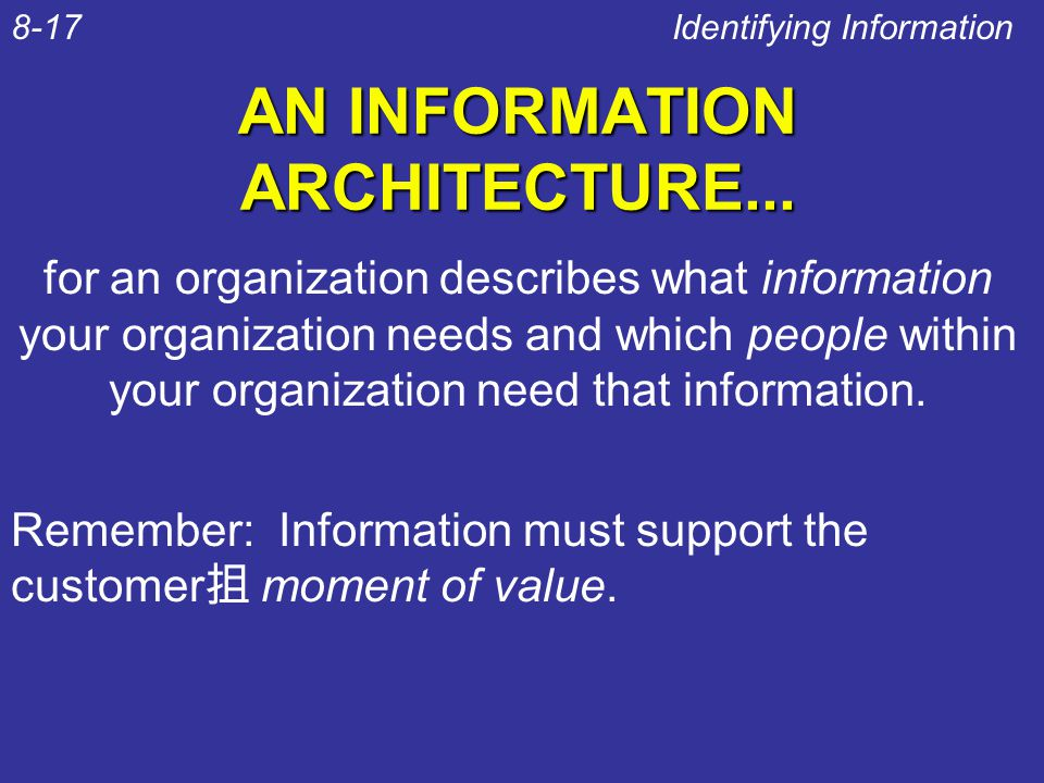 AN INFORMATION ARCHITECTURE... Identifying Information8-17 for an organization describes what information your organization needs and which people wit