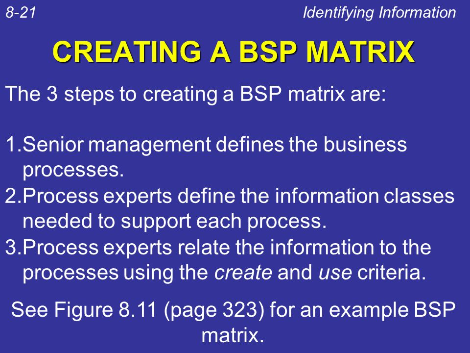 CREATING A BSP MATRIX The 3 steps to creating a BSP matrix are: 1.Senior management defines the business processes. 2.Process experts define the infor