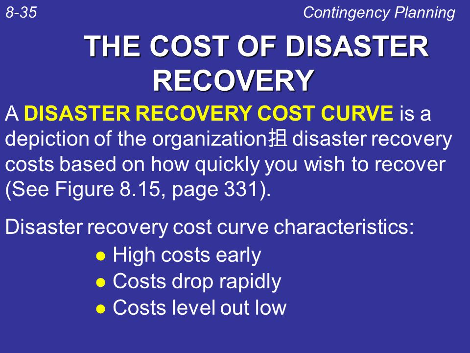 THE COST OF DISASTER RECOVERY l High costs early l Costs drop rapidly l Costs level out low Contingency Planning8-35 A DISASTER RECOVERY COST CURVE is