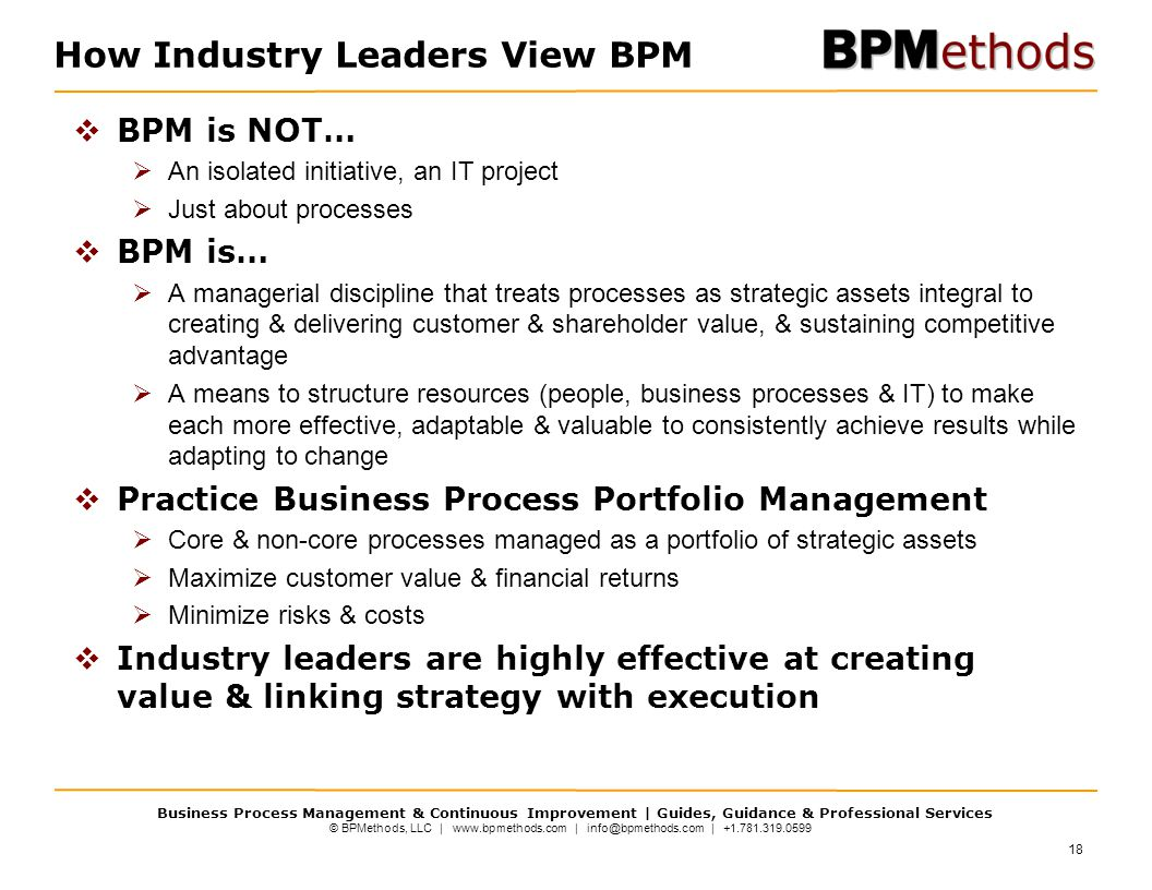 © BPMethods, LLC | www.bpmethods.com | info@bpmethods.com | +1.781.319.0599 Business Process Management & Continuous Improvement | Guides, Guidance & Professional Services How Industry Leaders View BPM  BPM is NOT…  An isolated initiative, an IT project  Just about processes  BPM is…  A managerial discipline that treats processes as strategic assets integral to creating & delivering customer & shareholder value, & sustaining competitive advantage  A means to structure resources (people, business processes & IT) to make each more effective, adaptable & valuable to consistently achieve results while adapting to change  Practice Business Process Portfolio Management  Core & non-core processes managed as a portfolio of strategic assets  Maximize customer value & financial returns  Minimize risks & costs  Industry leaders are highly effective at creating value & linking strategy with execution 18