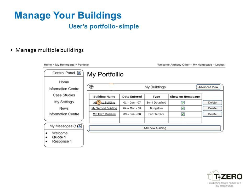 Manage Your Buildings User's portfolio- simple Manage multiple buildings