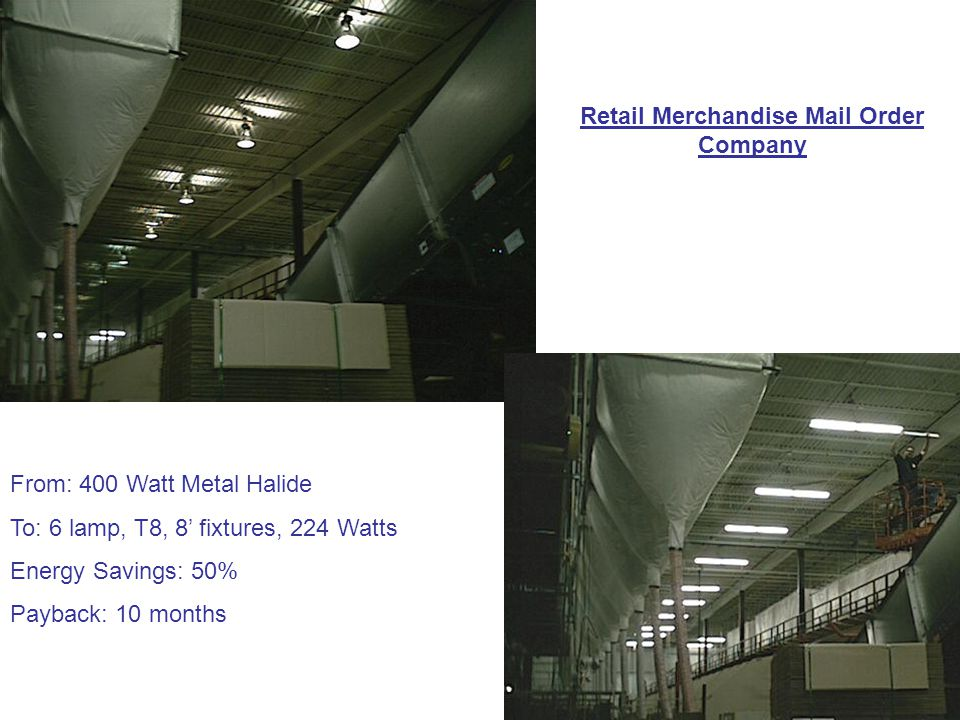 Retail Merchandise Mail Order Company From: 400 Watt Metal Halide To: 6 lamp, T8, 8' fixtures, 224 Watts Energy Savings: 50% Payback: 10 months