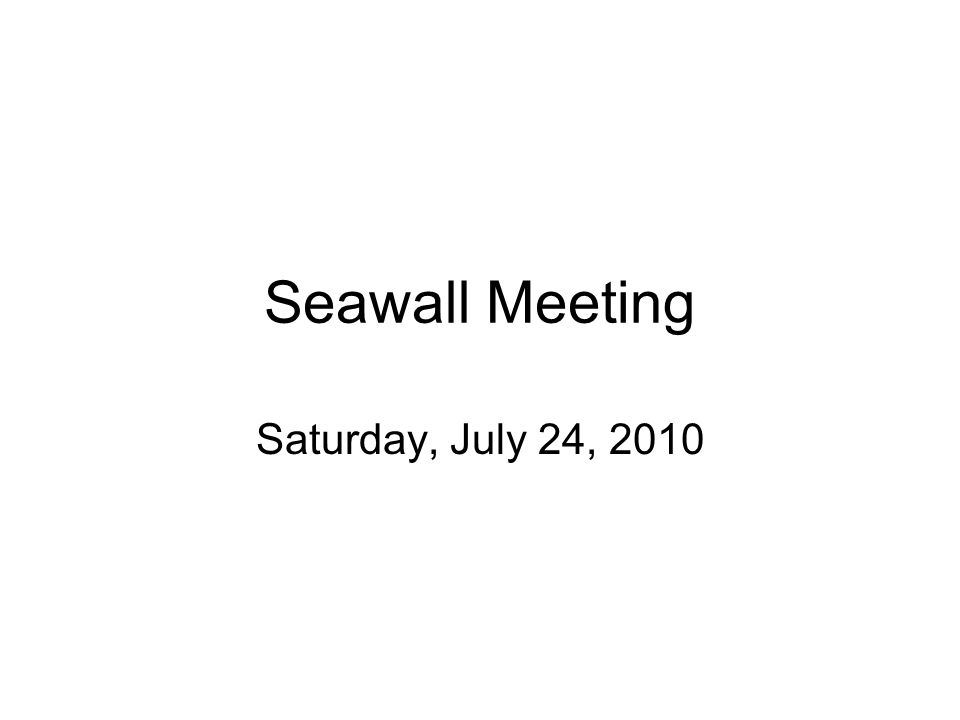 Seawall Meeting Saturday, July 24, 2010
