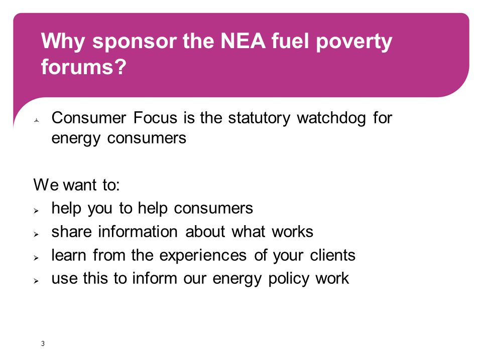 3 Why sponsor the NEA fuel poverty forums.