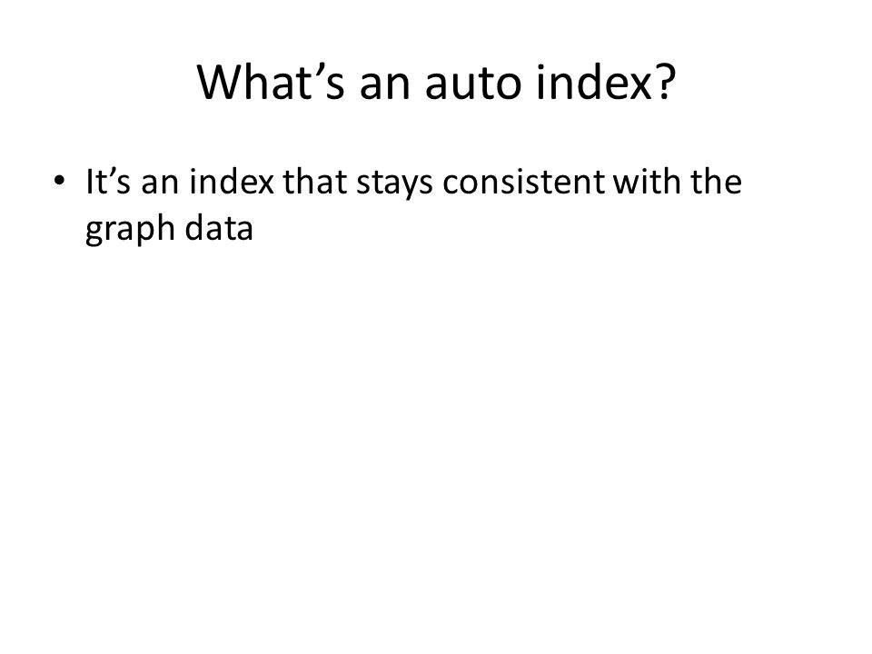 What's an auto index It's an index that stays consistent with the graph data