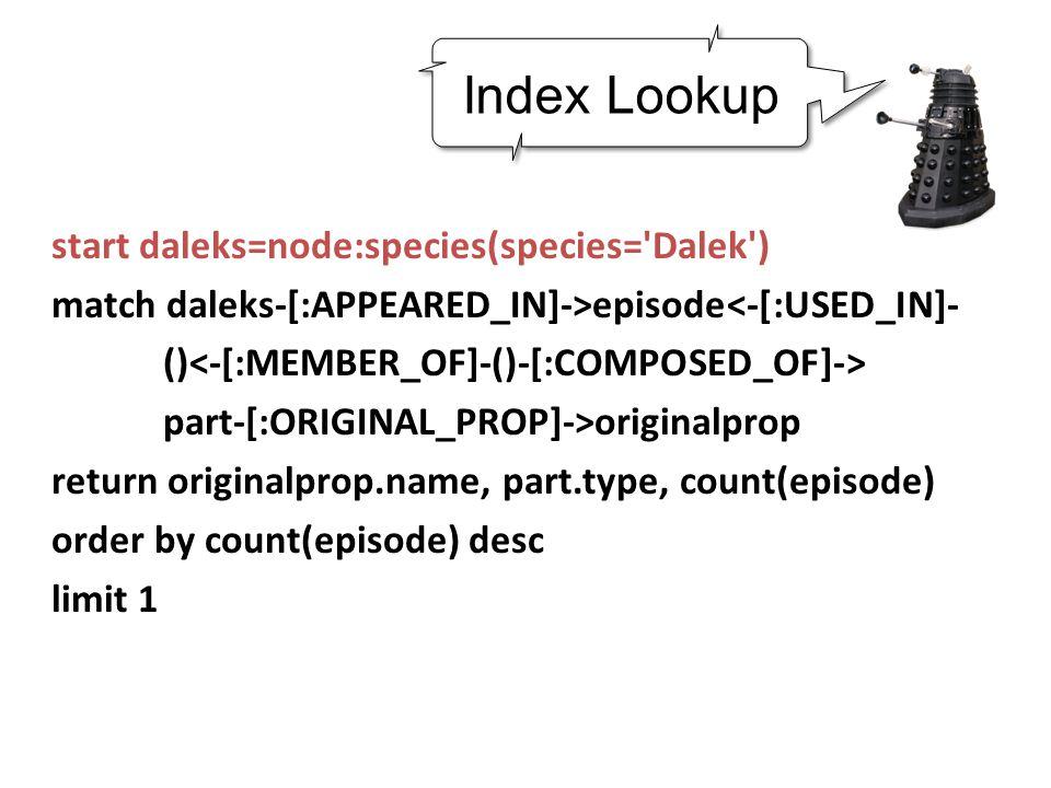start daleks=node:species(species= Dalek ) match daleks-[:APPEARED_IN]->episode<-[:USED_IN]- () part-[:ORIGINAL_PROP]->originalprop return originalprop.name, part.type, count(episode) order by count(episode) desc limit 1 Index Lookup