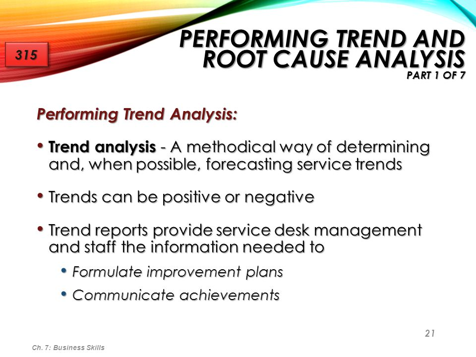 22 Ch. 7: Business Skills PERFORMING TREND AND ROOT CAUSE ANALYSIS PART 2 OF 7 315315