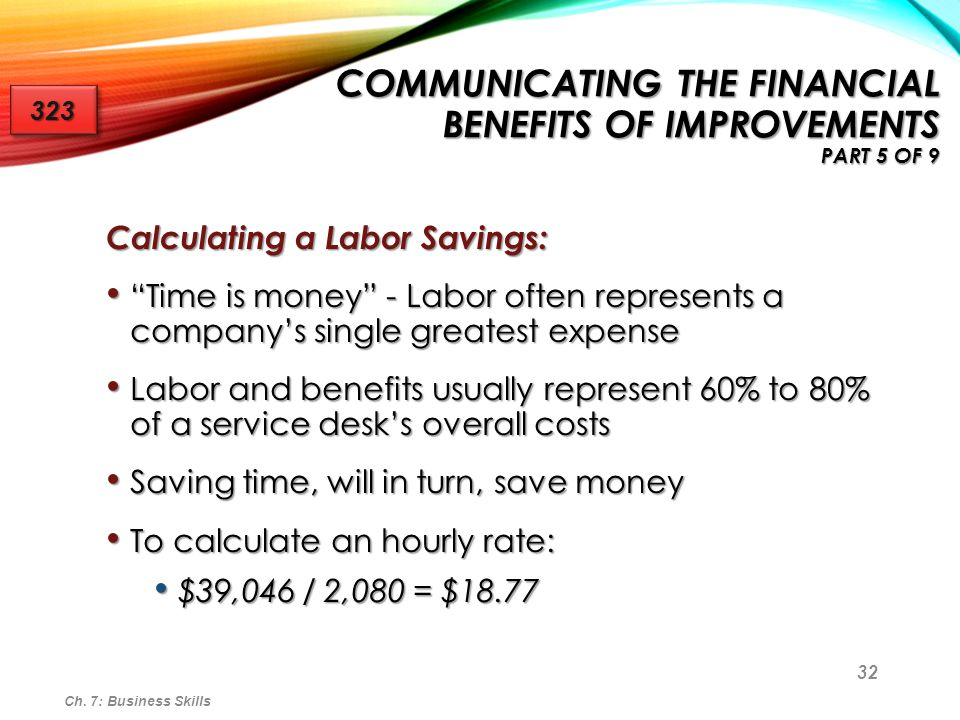 """32 Calculating a Labor Savings: """"Time is money"""" - Labor often represents a company's single greatest expense """"Time is money"""" - Labor often represents"""