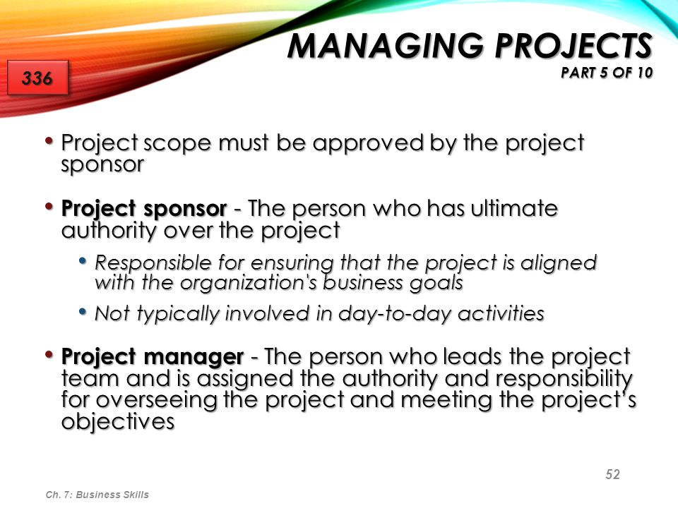 53 Project manager responsibilities include: Developing and maintaining a project plan Developing and maintaining a project plan Directing project activities Directing project activities Creating project status reports Creating project status reports Preparing and participating in project reviews Preparing and participating in project reviews Resolving project plan deviations Resolving project plan deviations Resolving and escalating to management, if necessary, issues that pertain to the project Resolving and escalating to management, if necessary, issues that pertain to the project Administering project change control Administering project change control Ch.