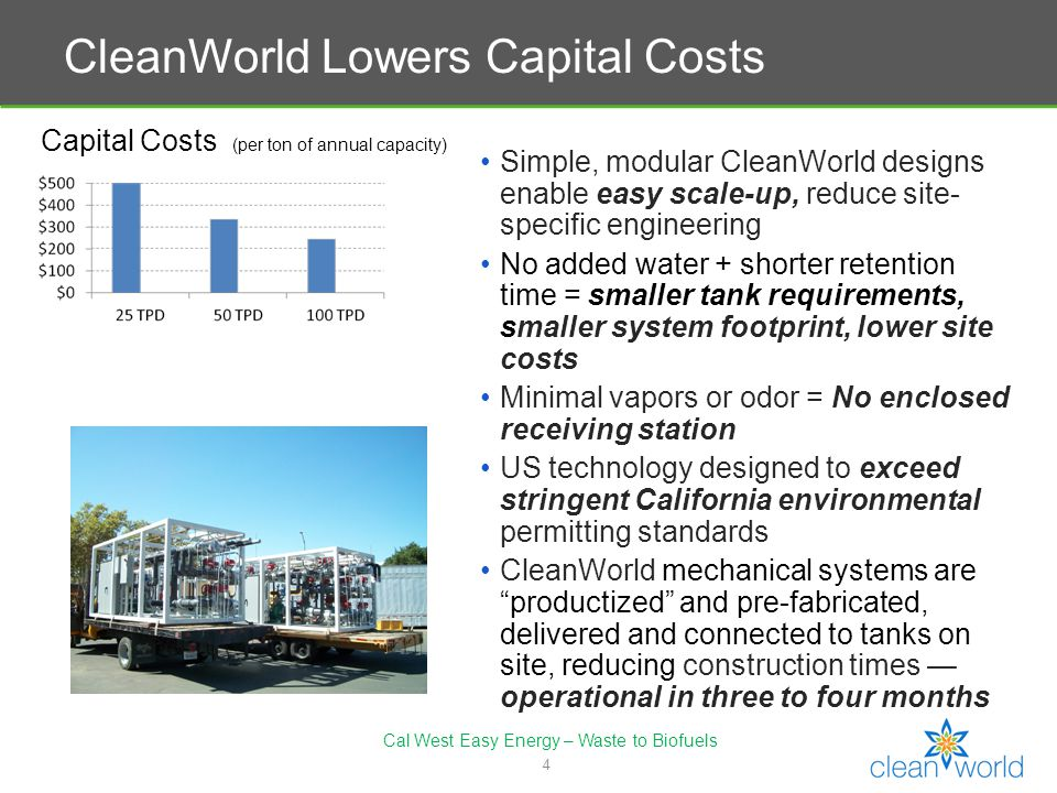 5 Operating Costs (per ton, high-solids waste) CleanWorld Lowers Operating Costs CleanWorld technology easily handles diverse mixed feedstocks of up to 50 percent total solids including mixed food and green yard waste, crop residue, animal manure, poultry litter, animal bedding High system stability regardless of spikes in loading and fluctuations in waste composition Shorter retention time and rapid waste digestion No fresh water needed Advanced instrumentation and control systems allow remote monitoring (ipad or cell phone) and operation, reducing staff requirements and operating costs Cal West Easy Energy – Waste to Biofuels