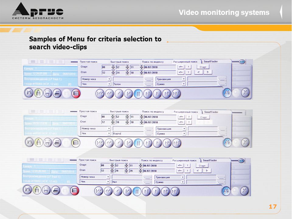 Samples of Menu for criteria selection to search video-clips 17 Video monitoring systems