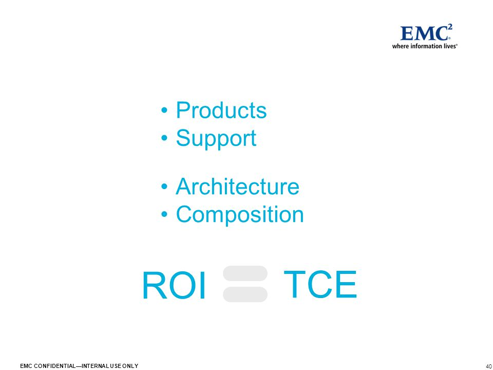 40 EMC CONFIDENTIAL—INTERNAL USE ONLY TCE ROI Products Support Architecture Composition