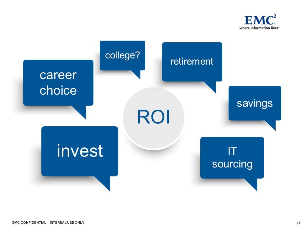 41 EMC CONFIDENTIAL—INTERNAL USE ONLY ROI savings college? invest retirement IT sourcing career choice