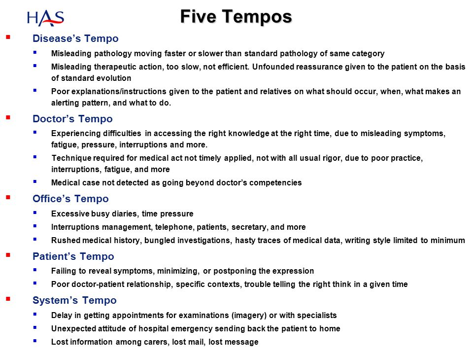 Five Tempos  Disease's Tempo  Misleading pathology moving faster or slower than standard pathology of same category  Misleading therapeutic action, too slow, not efficient.