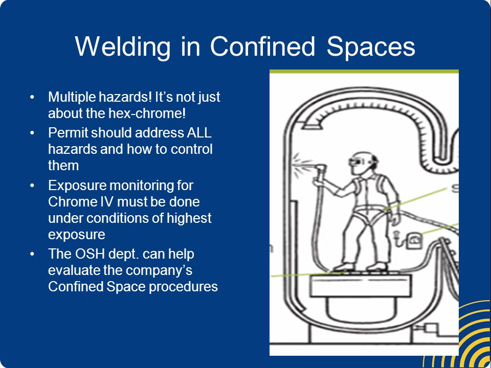 Welding in Confined Spaces Multiple hazards. It's not just about the hex-chrome.